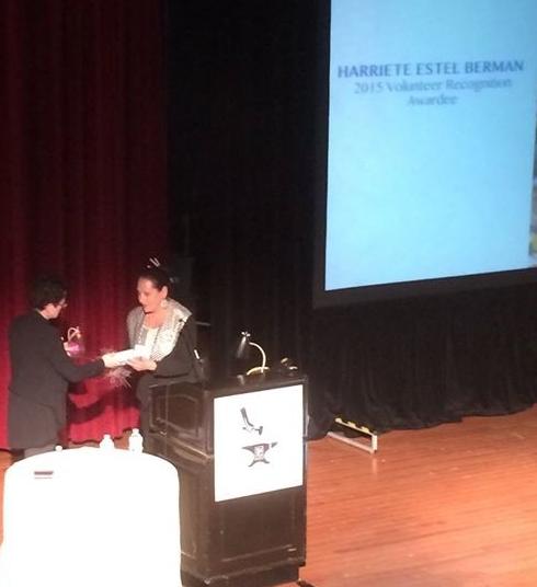 Harriete receiving SNAG Volunteer Recognition Award 2015