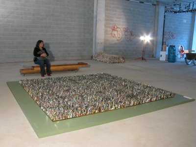 """Grass/gras' on display at a temporary gallery space in San Francisco for the """"SMART Art Competition - Trash into Treasure"""" in 2009."""