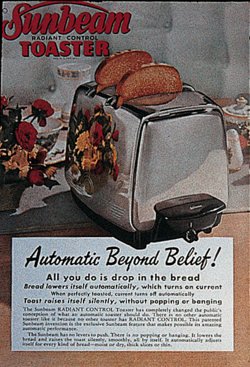 Vintage Sunbeam Toaster Ad that inspired the styling for Toast to the Bride