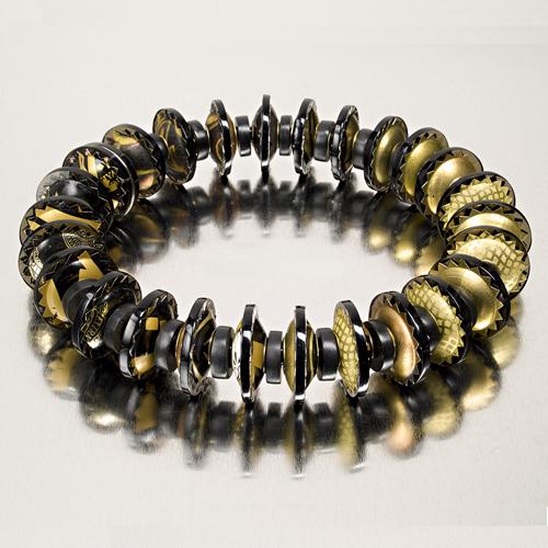 Gold Identity Bead Necklace by Harriete Estel Berman