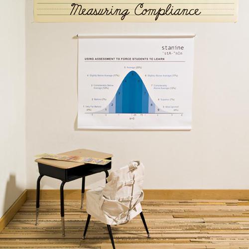 Measuring Compliance sculpture about education by Harriete Estel Berman