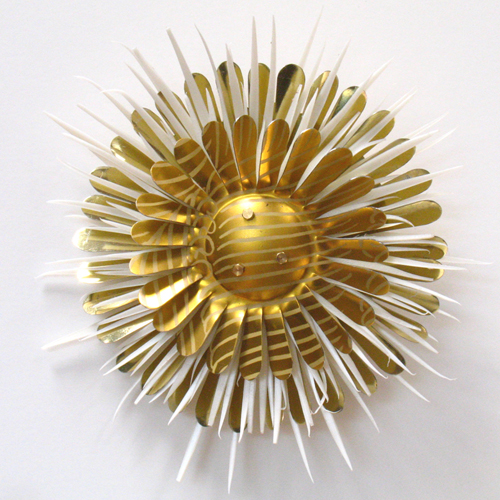 Gold Flower Brooch from recycled plastic and tin cans
