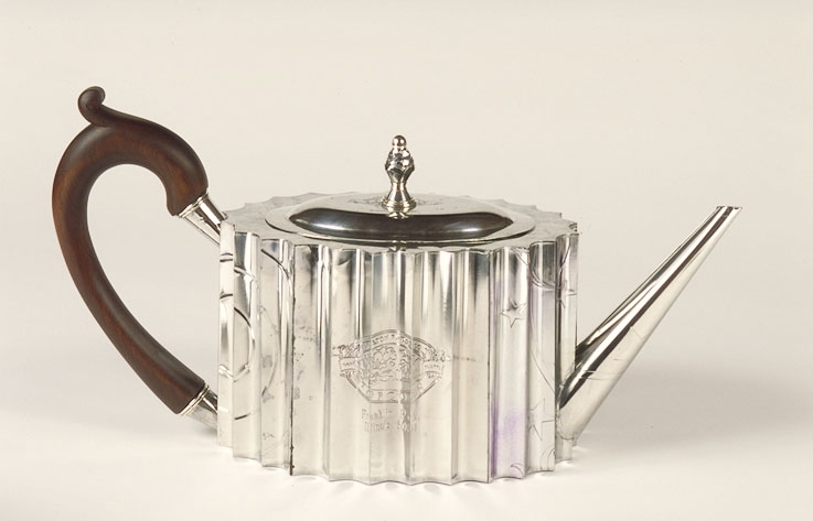 silver preferred teapot by Harriete Estel Berman from recycled tin cans.