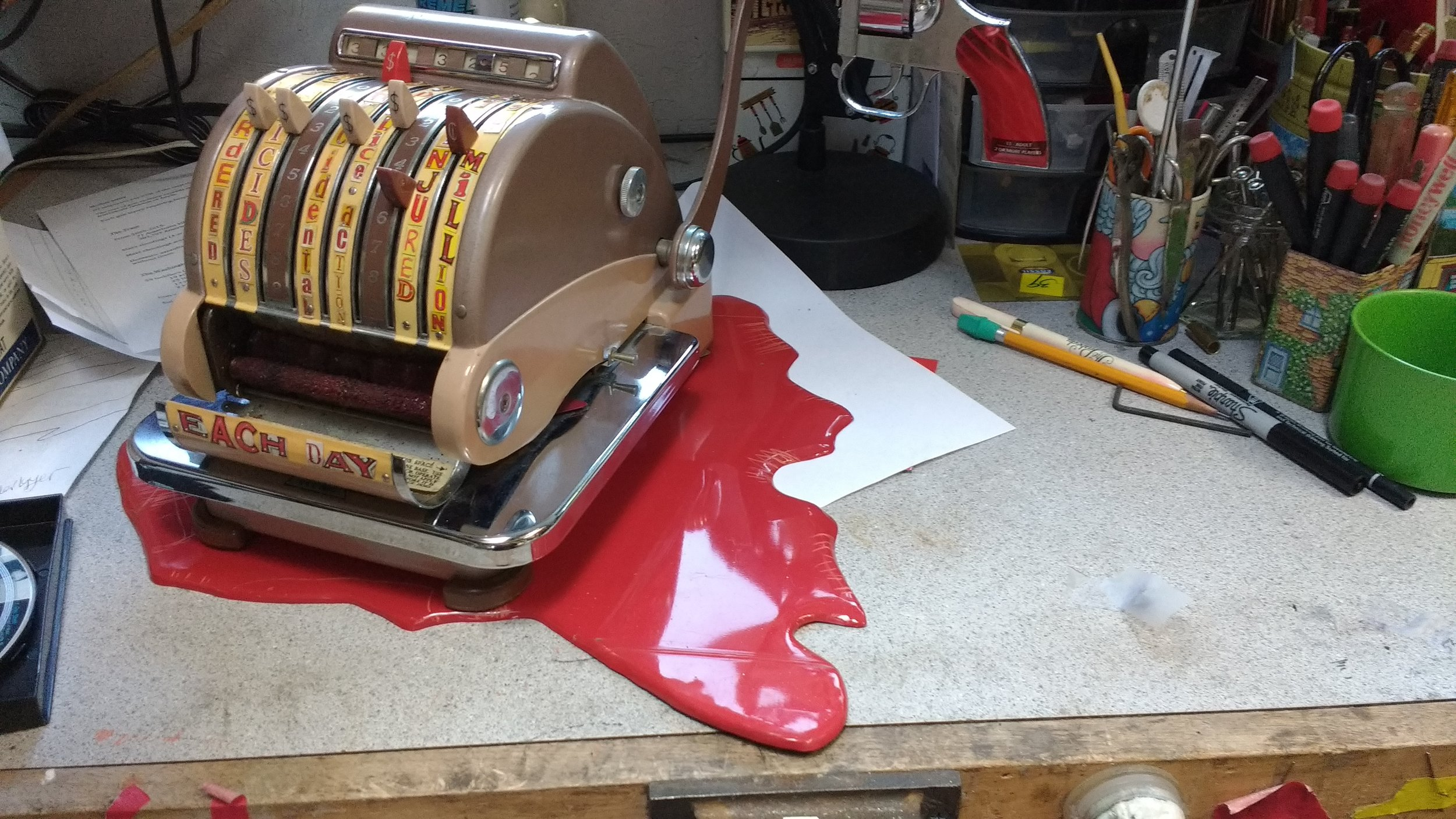Working in the studio and adjusting the blood platform so it lays flat