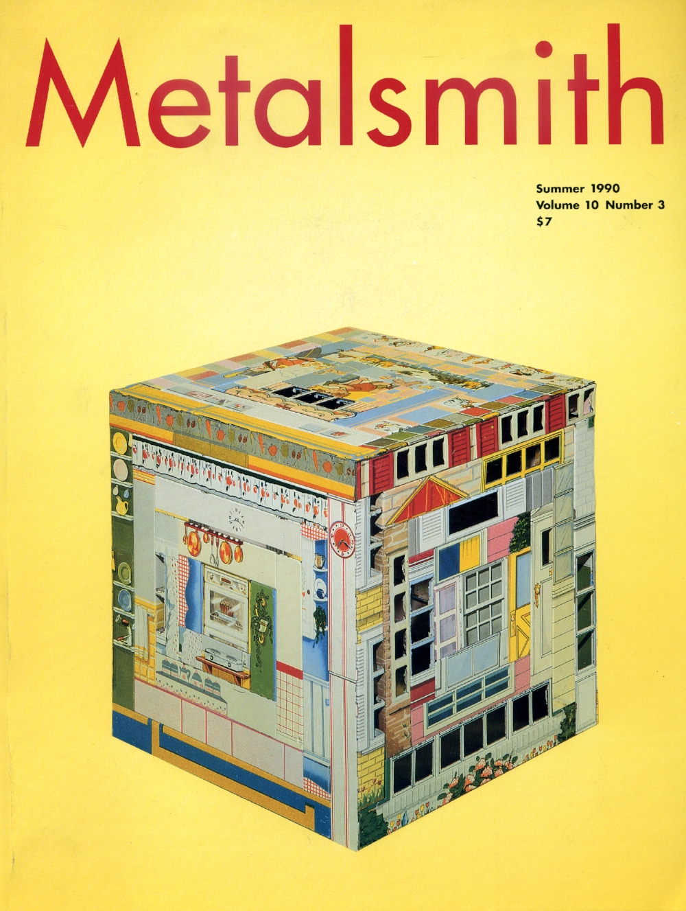 Metalsmith Magazine cover featuring  Patchwork Quilt, Small Pieces of Time.  This magazine issue featured  an article about the artwork by Harriete Estel Berman