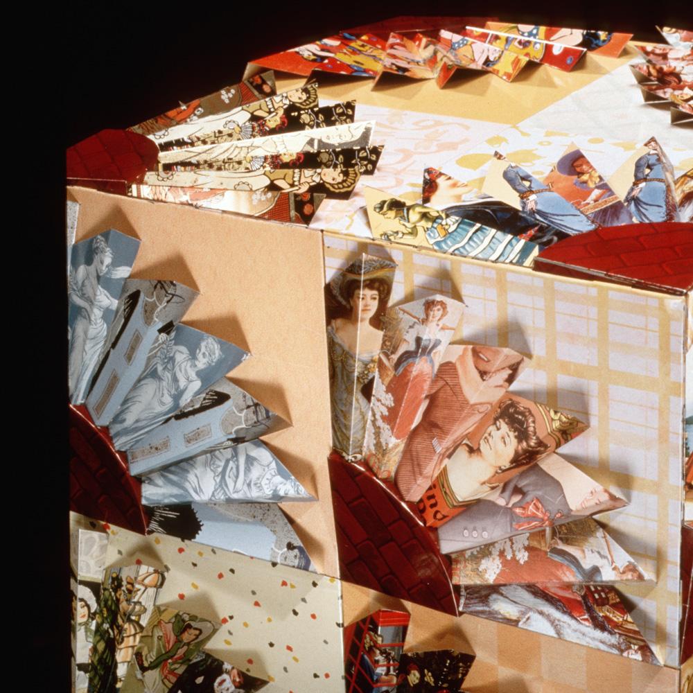 Women in a fan quilt pattern depicting women's roles.