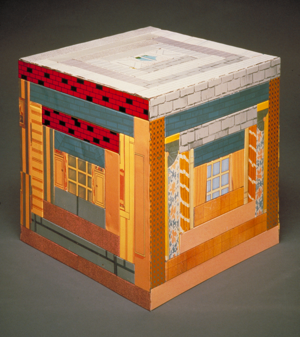 Courthouse Step by Harriete Estel Berman uses log cabin quilt pattern in recycled vintage steel dollhouses.