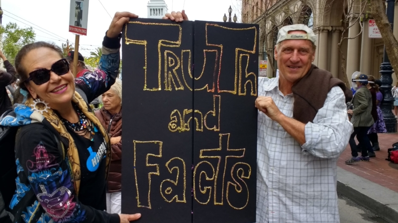 March for Science TRUTH and Facts sign by Harriete Estel Berman with Bill Shelander
