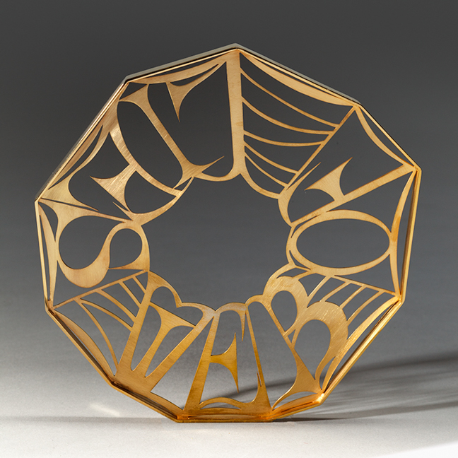 "Web of Lies  Bracelet  is fragile construction which is gold plated to reflect the current 45 administrations illegal, unethical, and immoral application of the truth.  Dimensions:  5.57 "" ht. x 5.75. wx .25"" depth"