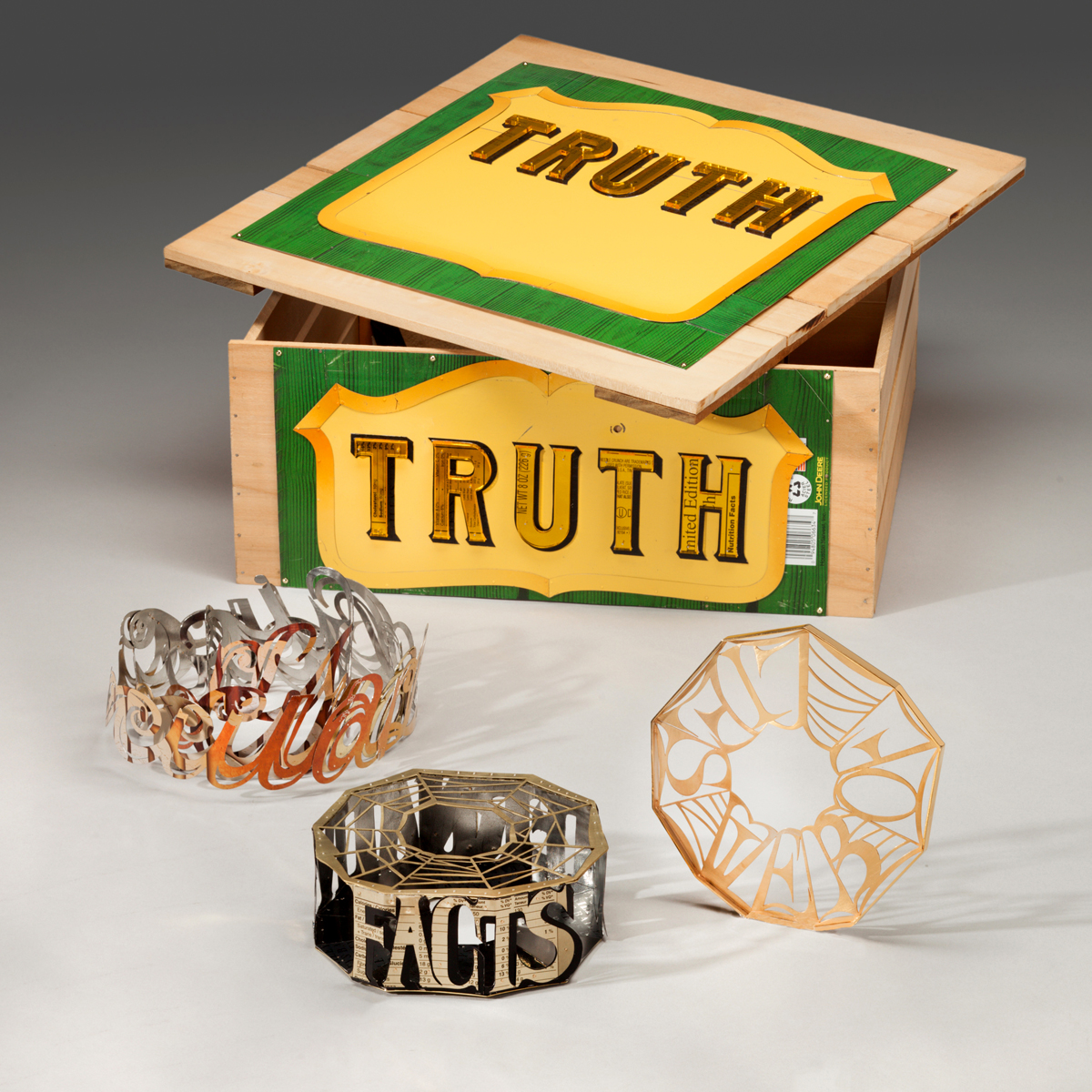 "Fabricating TRUTH  three bracelets representing Alternate Facts, Circular Logic and Web of Lies    Copyright 2017      Box Dimensions: 5.5"" ht x 14' w  x  14.5 d"