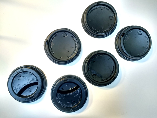 Black plastic coffee cups lids