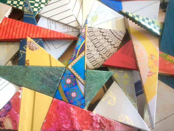 close up view of metal quilt layered quilt pieces