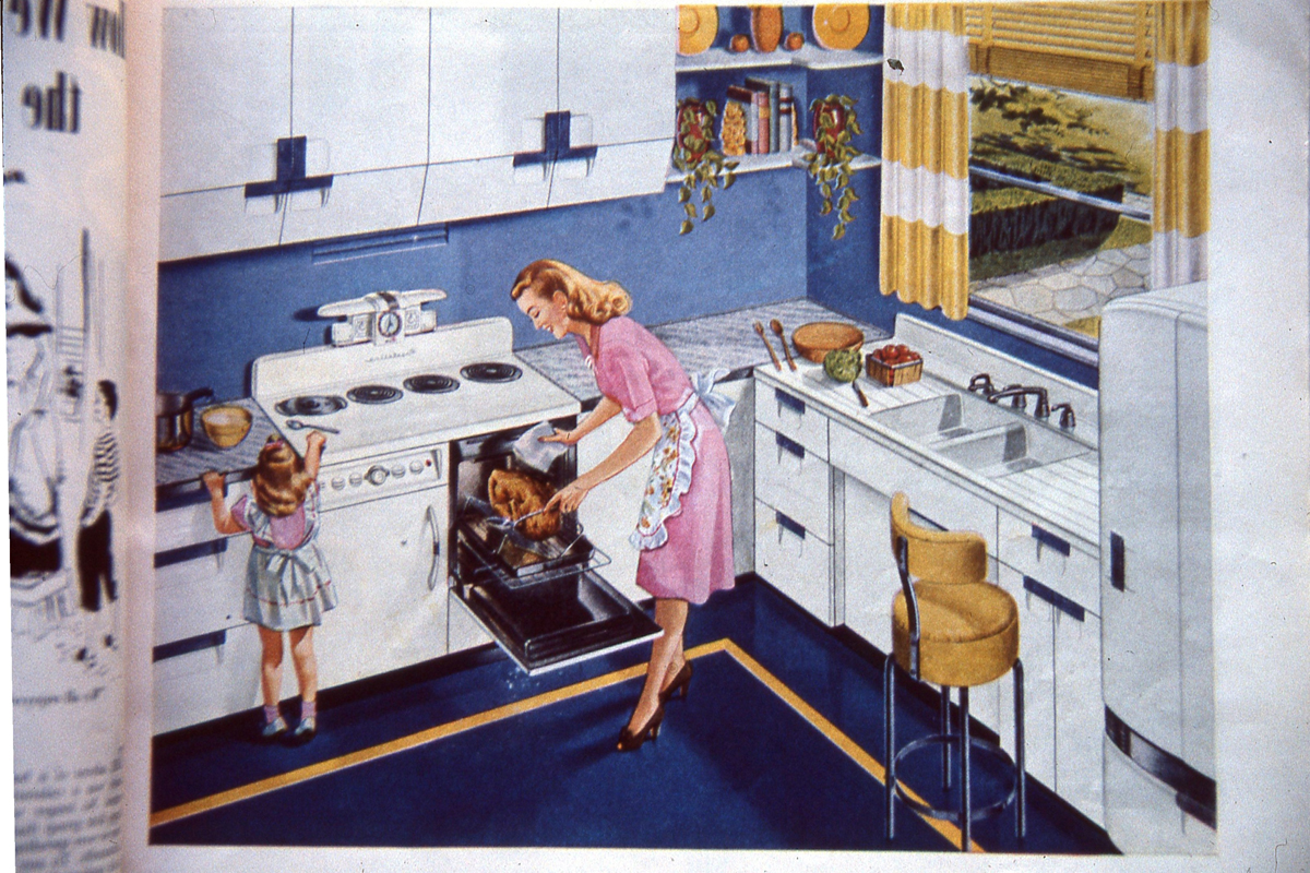 vintage mid-20th century kitchen ad with stove burners