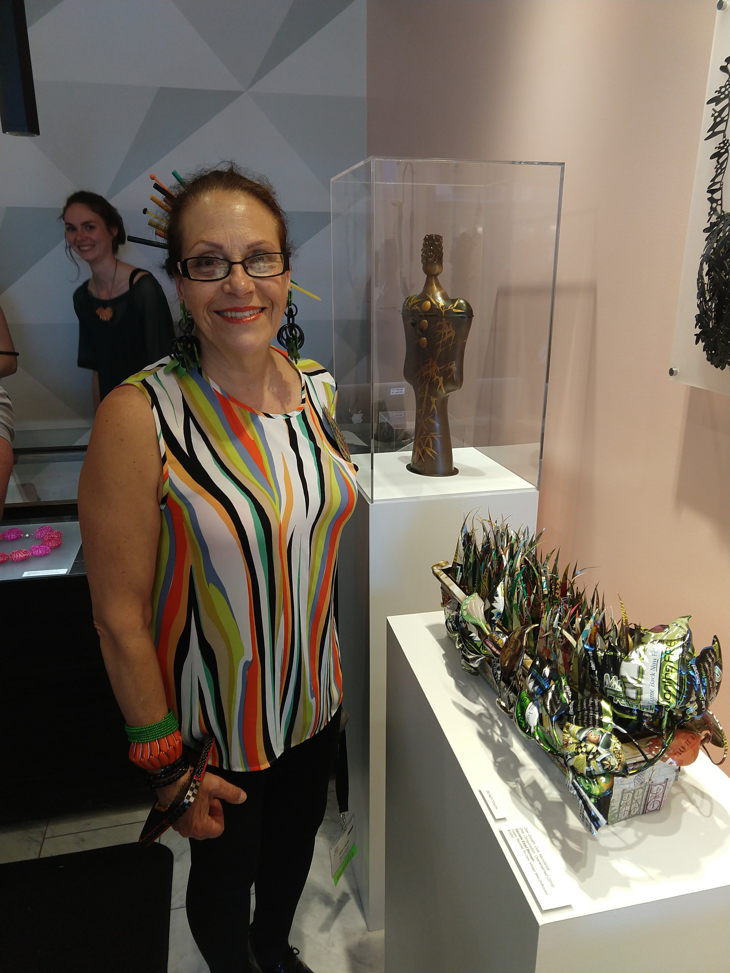 Harriete Estel Berman at exhibition opening Mastery in Jewelry and Metals