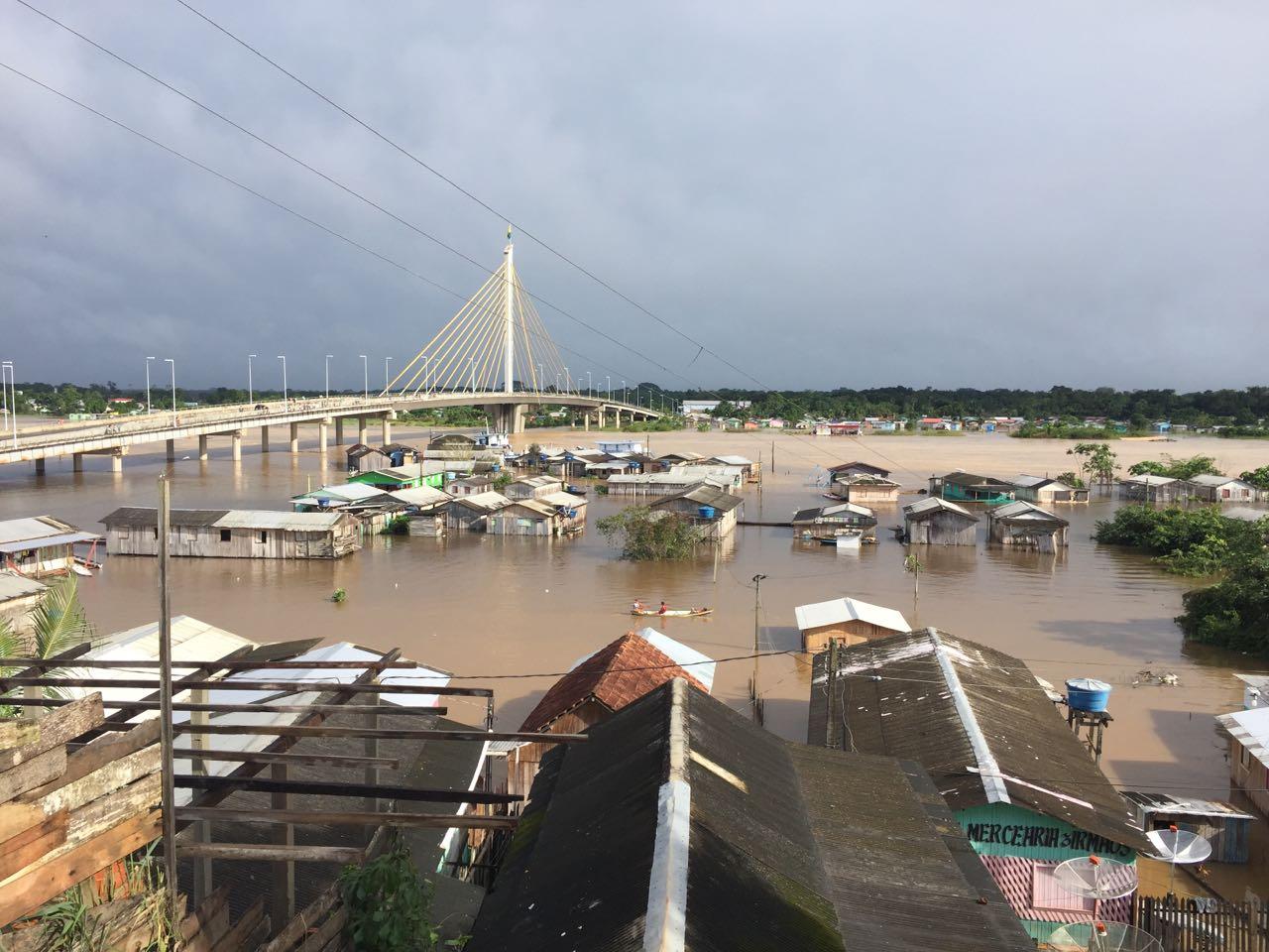 Many houses near the bridge flooded.