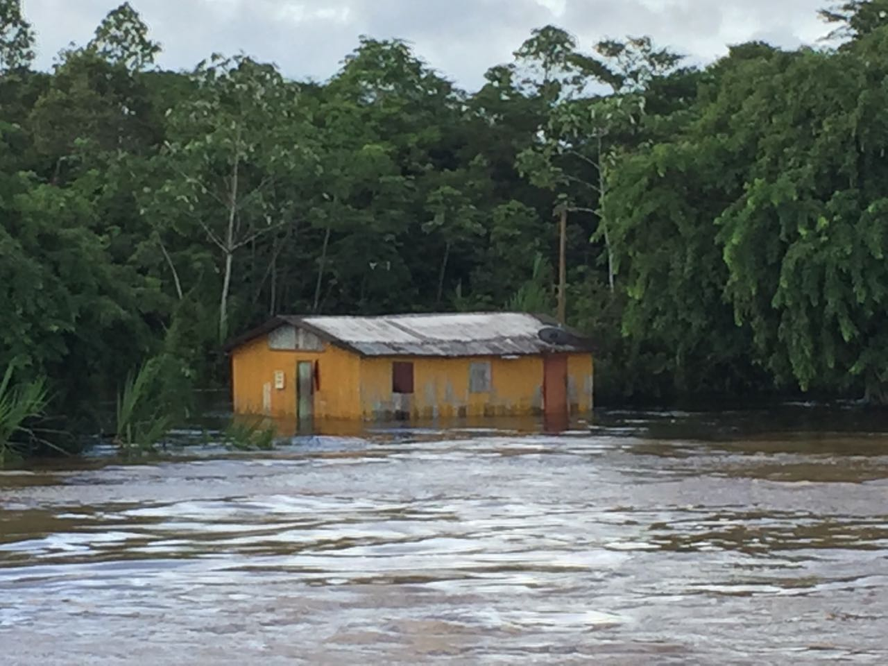 Flooded home along Rio Juruá near Cruzeiro do Sul, Brazil, Jan 28 2017.