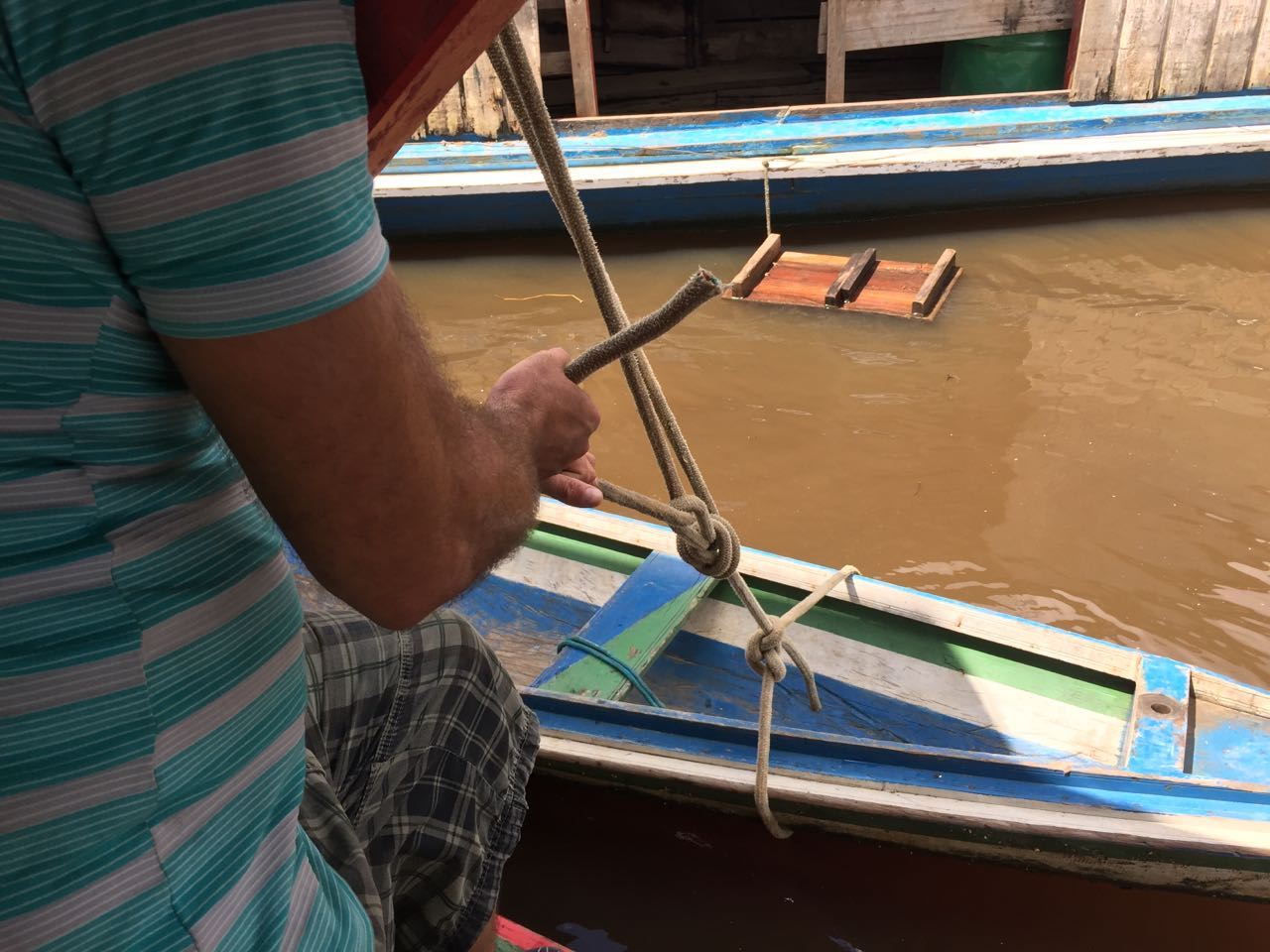 Tying down our canoes