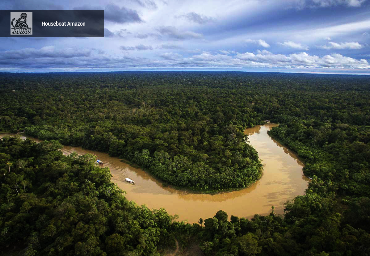 Drone flying over HBA and the Rakel as we make our way deep into the Amazon along the narrow Rio Eiru