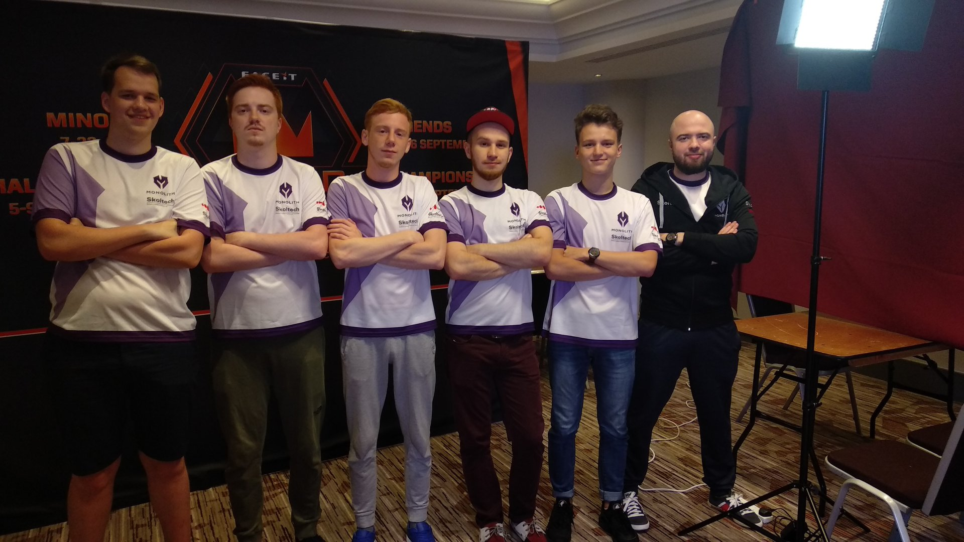 """From left to right: Alexey """"Nickelback"""" Trofimov, Alexander """"spiker"""" Ivanov, Dmitry """"propleh"""" Senigov, Alexey """"ub1que"""" Polivanov,Mareks """"Yekindar"""" Galinskis, and coach Rustam """"TsaGa"""" Tsagolov."""