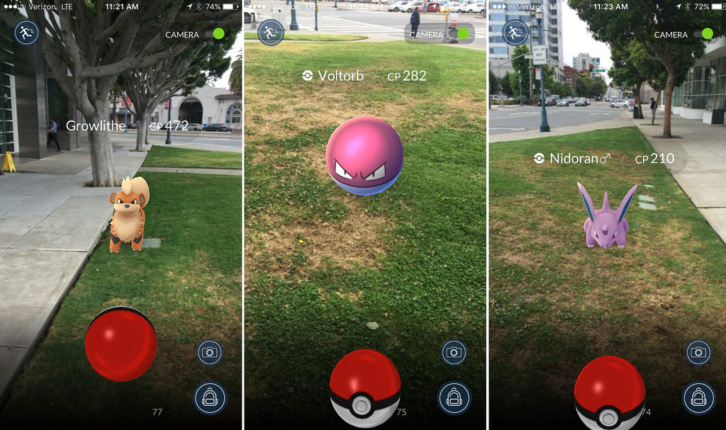 A selection of Pokémon waiting to captured including Growlithe, Voltorb and Nidoran.
