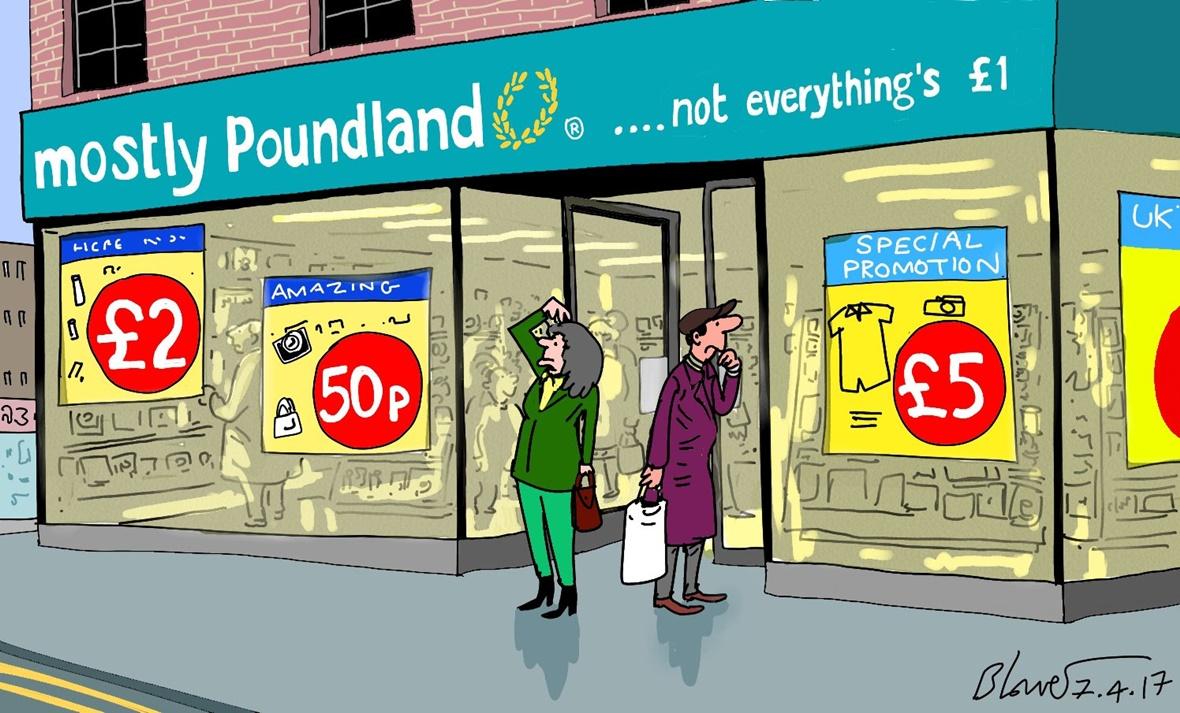 Cartoonist Patrick Blower's take on Poundland's new pricing strategy.