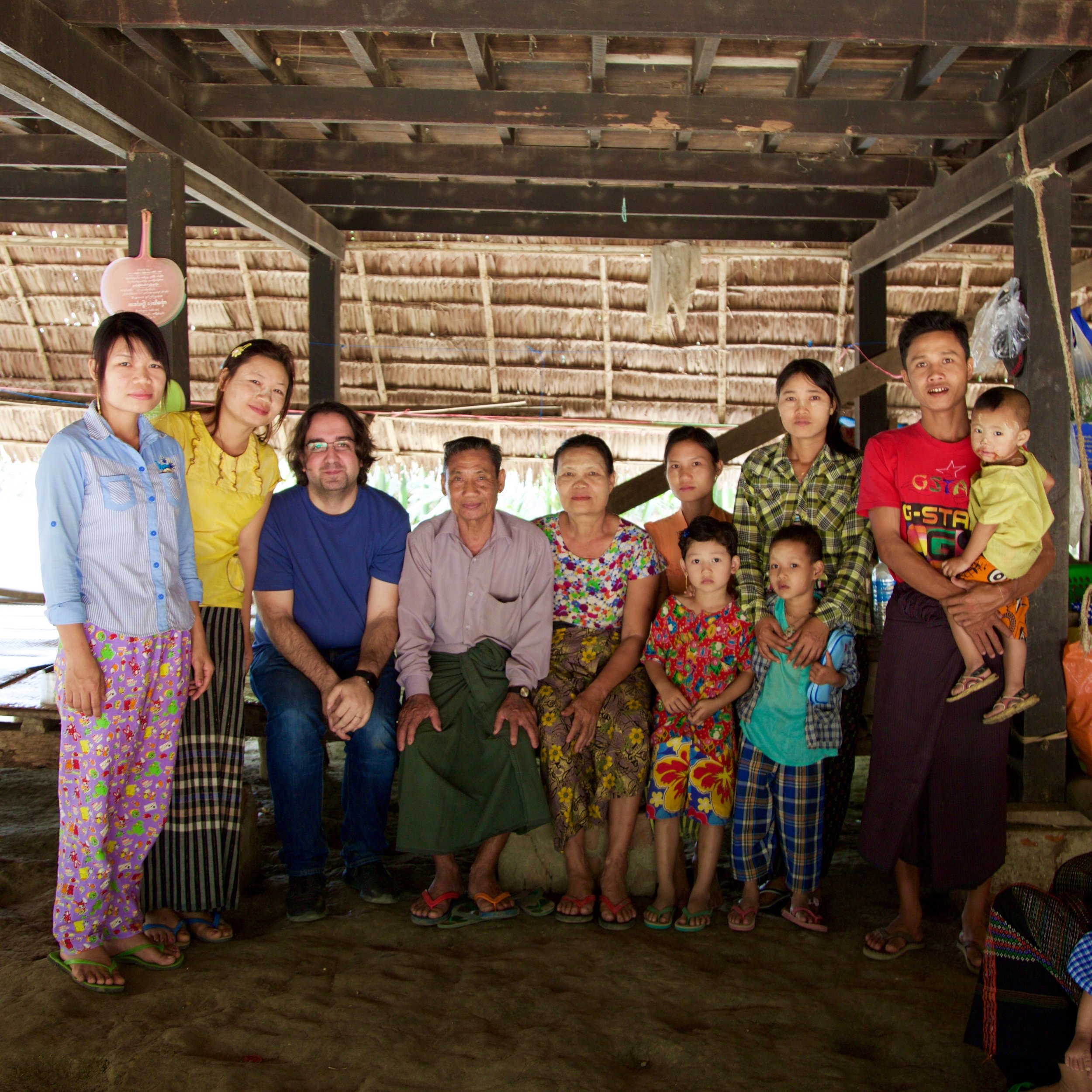 Fernando with the very first family we helped in Myanmar in 2015.