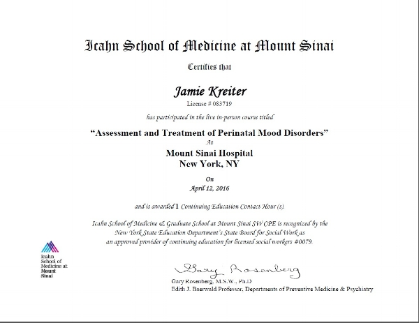 Assessment and Treatment of Perinatal mood and anxiety disorders
