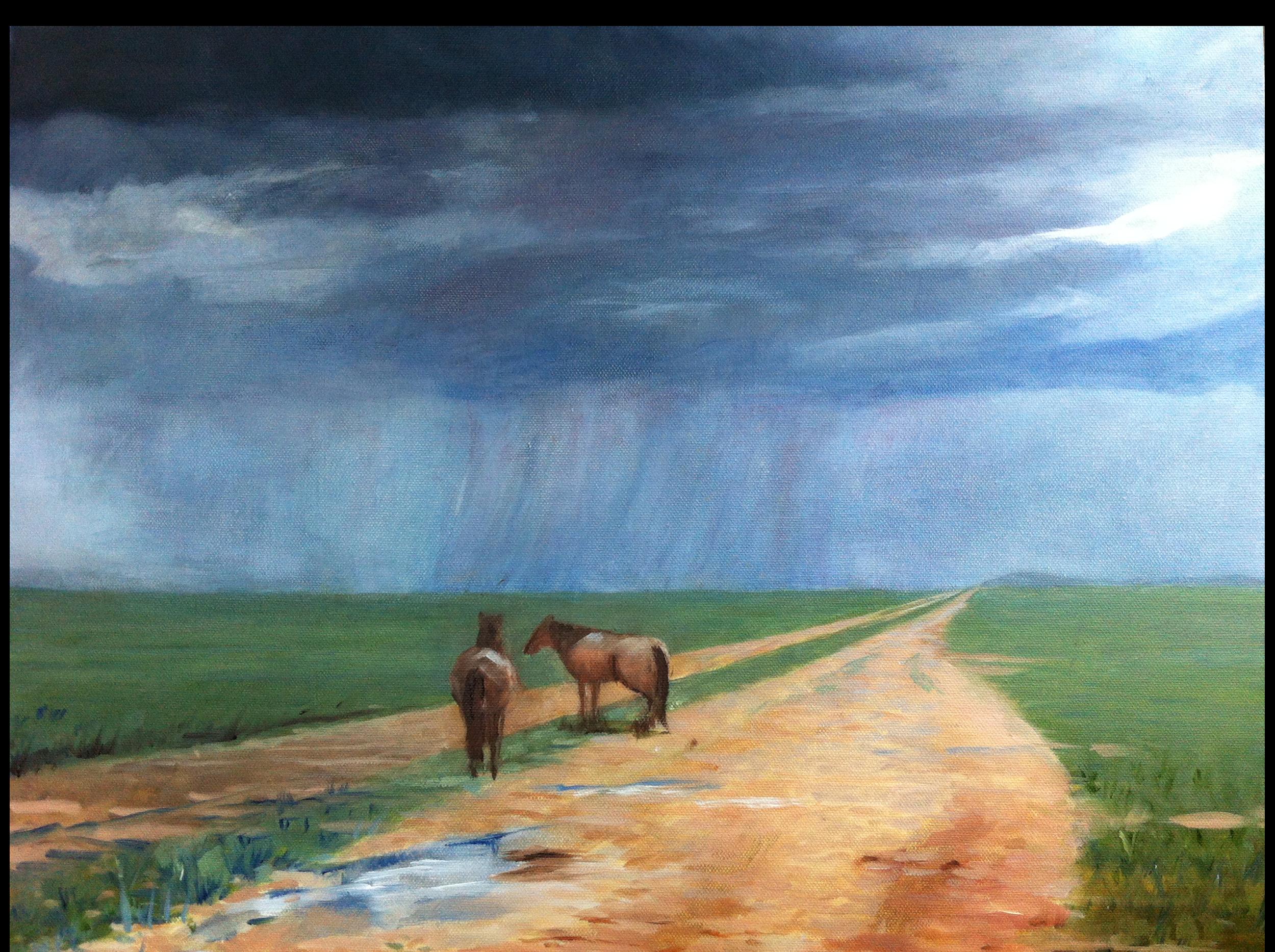 Horses on the Road (oil) - Angela Liu