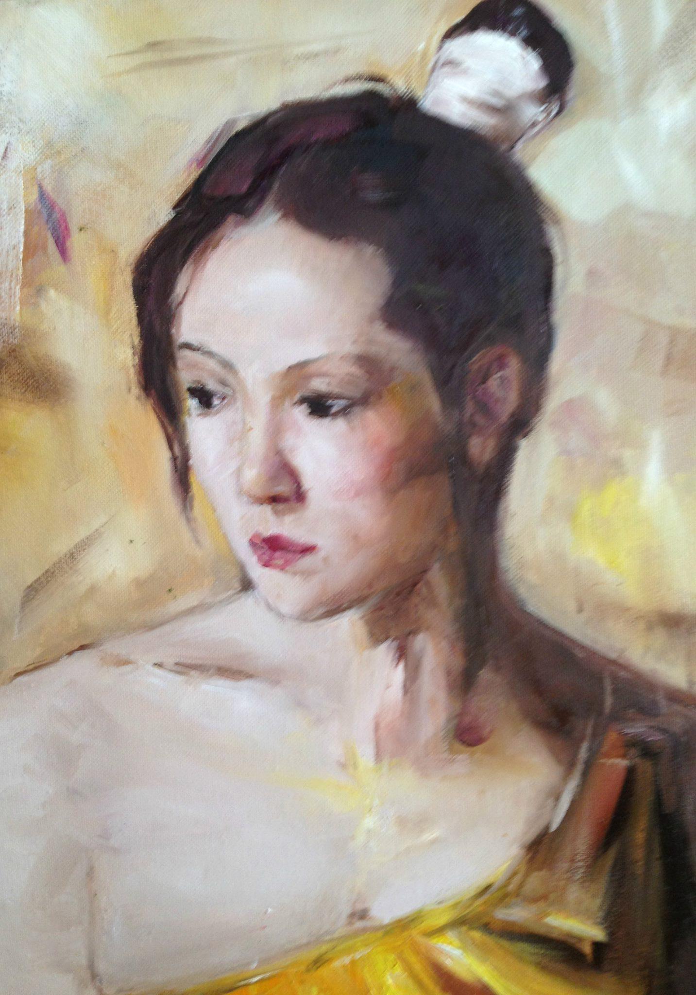 Pensive (oil) - Julie Peng
