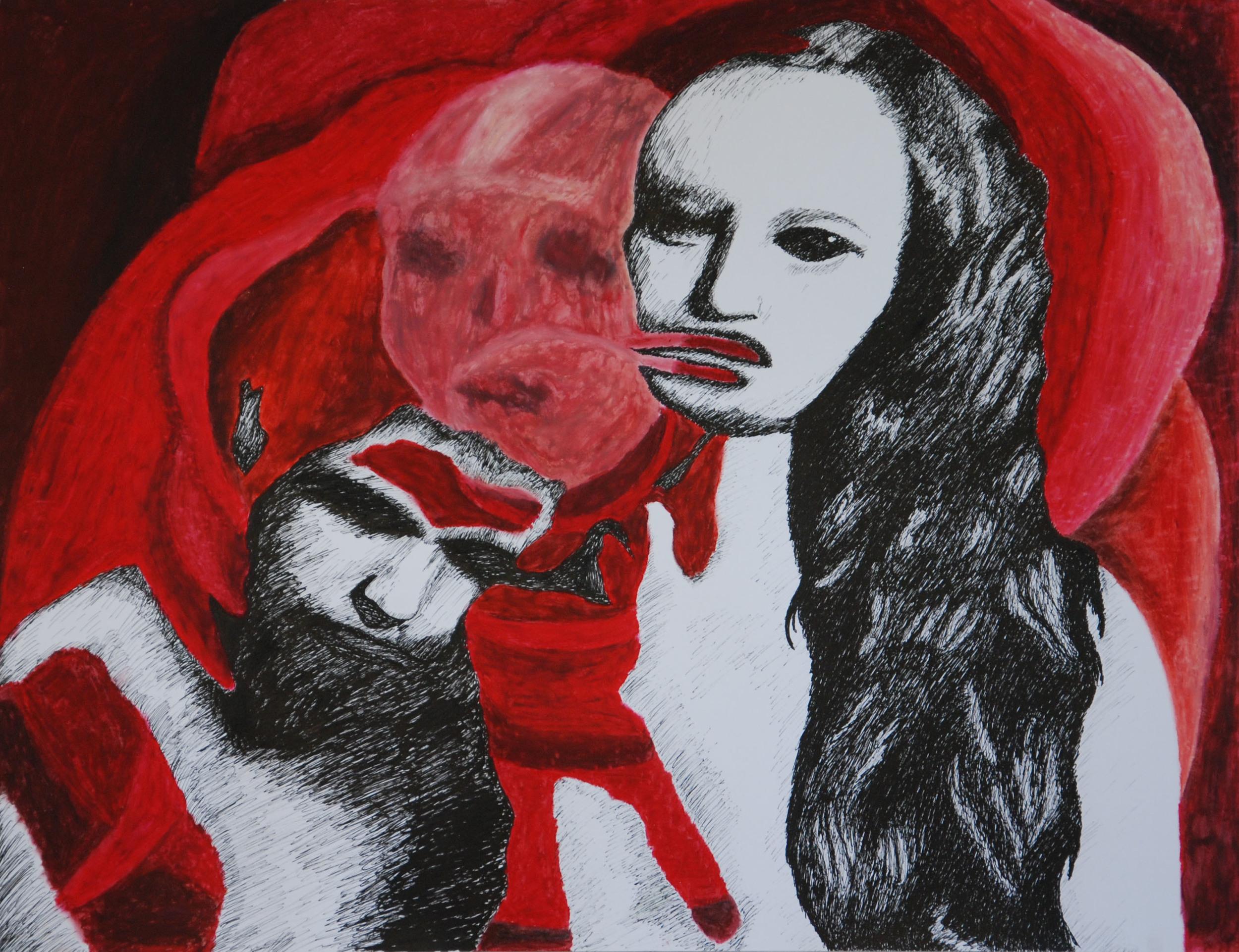 Us (ink, pastel) - Audrey Kirwan