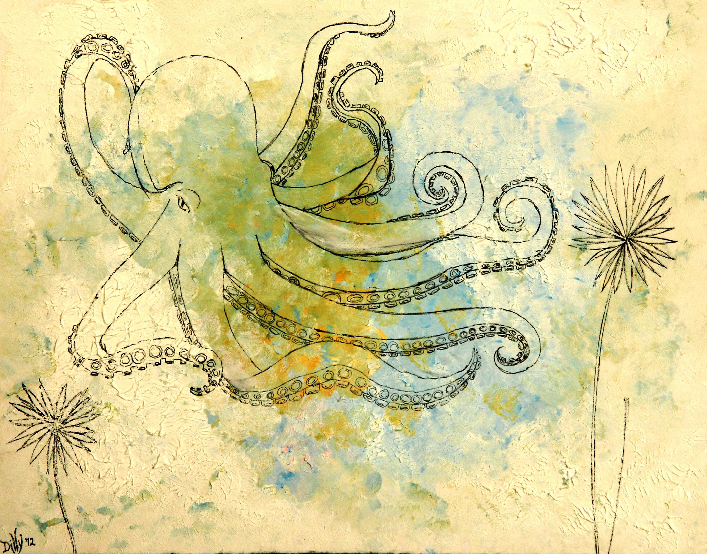 Octopus's Garden (watercolor, ink) - Dilly Sanborn-Marsh