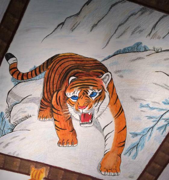 Roar (pastel, colored pencil) - Audrey Kirwan
