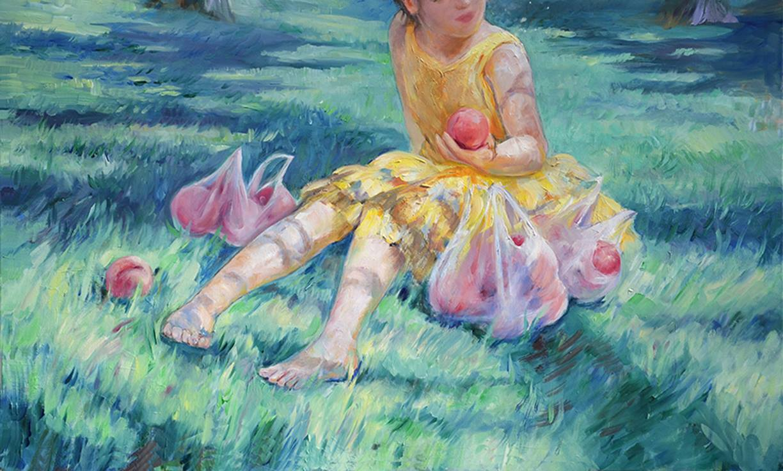 Peach Picking (oil) - Julie Peng