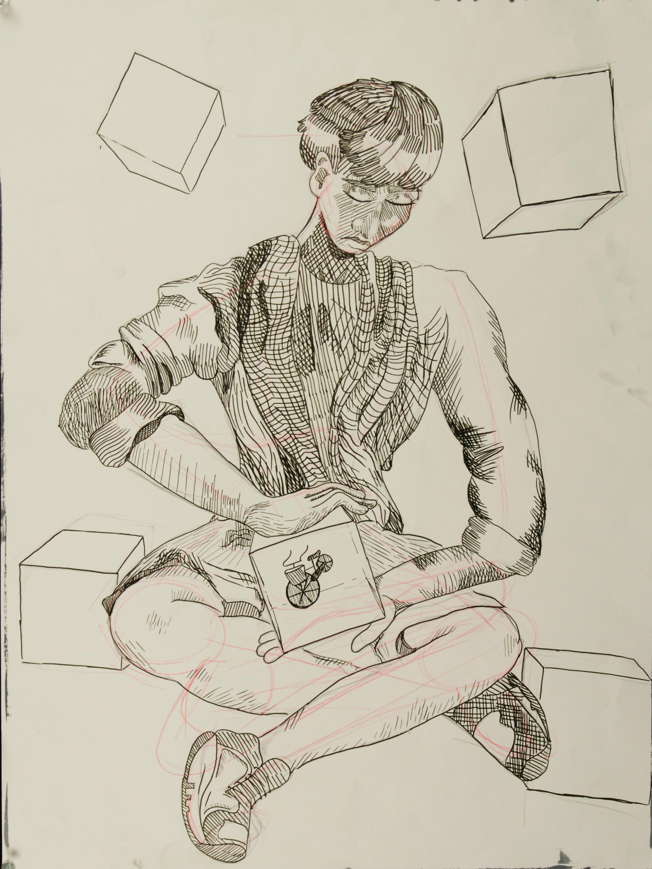 Cubes (graphite, pen) – Peter Mankiw