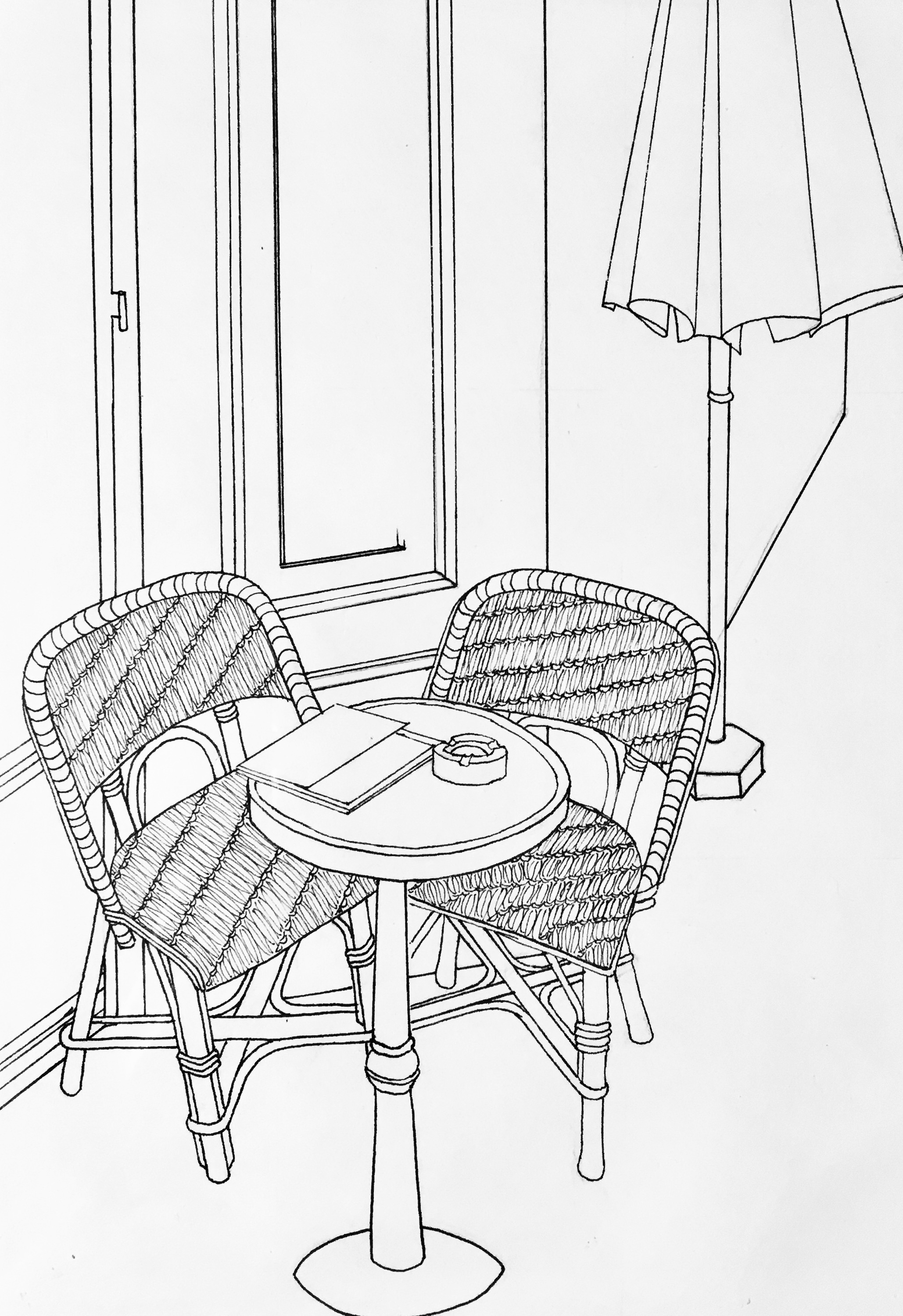 Chairs at French Cafe (ink) - Katherine Whitaker