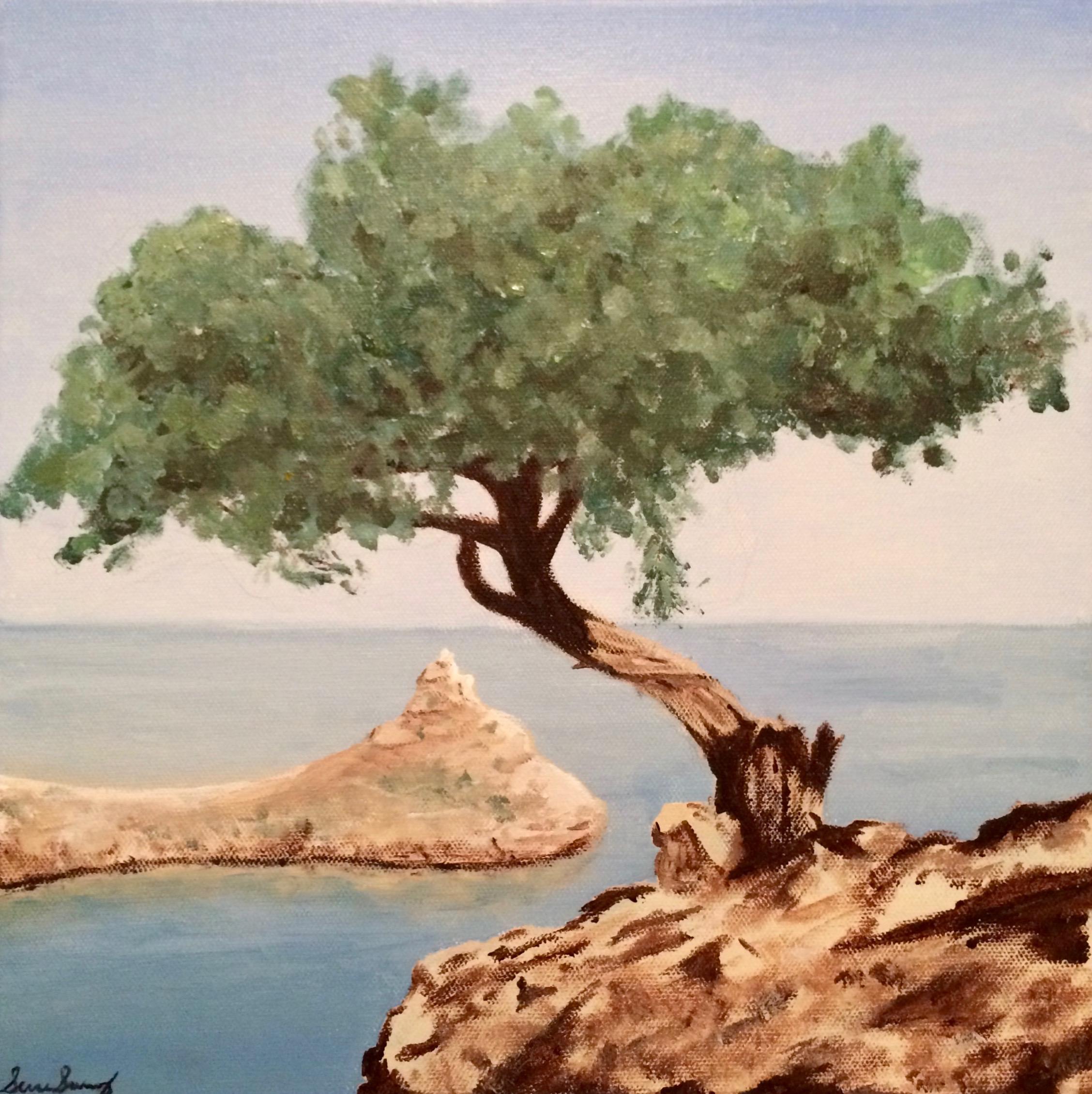 Juniper Tree on a Crimean Cliff (acrylic) - Simru Somnez-Erbil