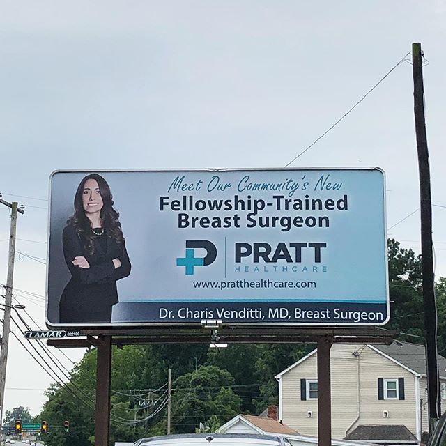 It's always an exciting time when you see something you created displayed for all to enjoy! Freshly installed billboard near @fxbgdntn with the new @pratthealthcare logo we are so proud of just hanging out front and center. 🤗 :: :: :: #pratthealthcare #logodesign #branding #outdooradvertising #excitingstuff #designer #brand #bestintheburg #lamarbillboards #creativeclass #designagency