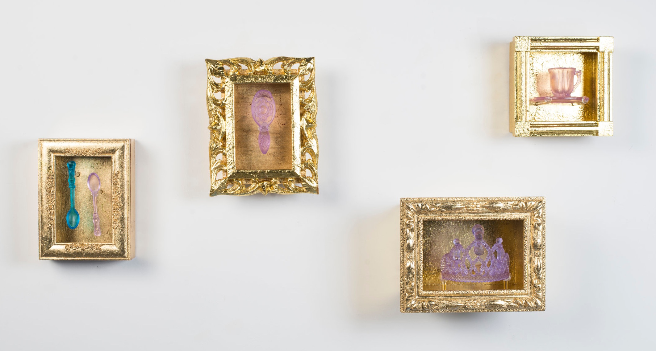 Gilded Memories Series, Casted glass, gilded wooden frames, 2019