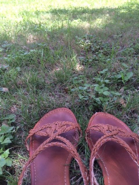 Grassy shoes at Deep Eddy Pool