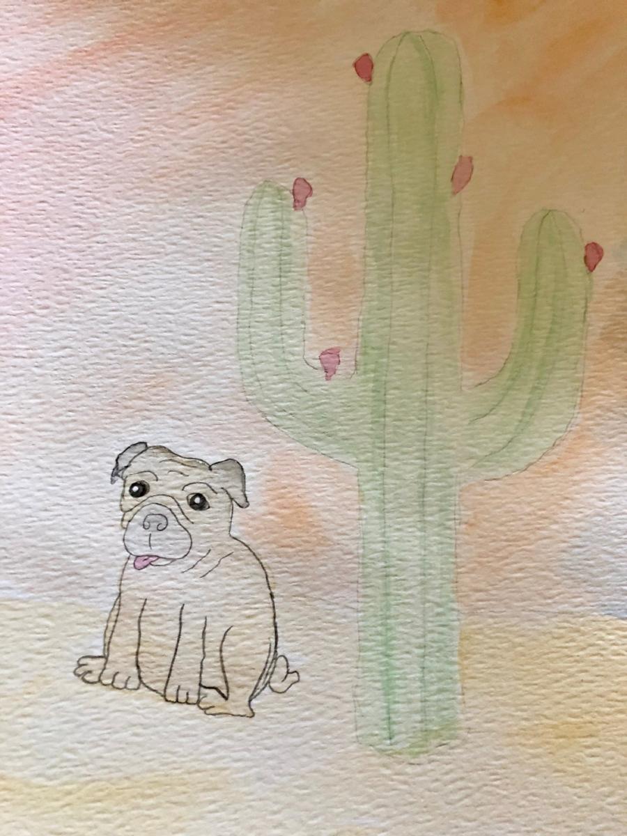 Watercolor pug