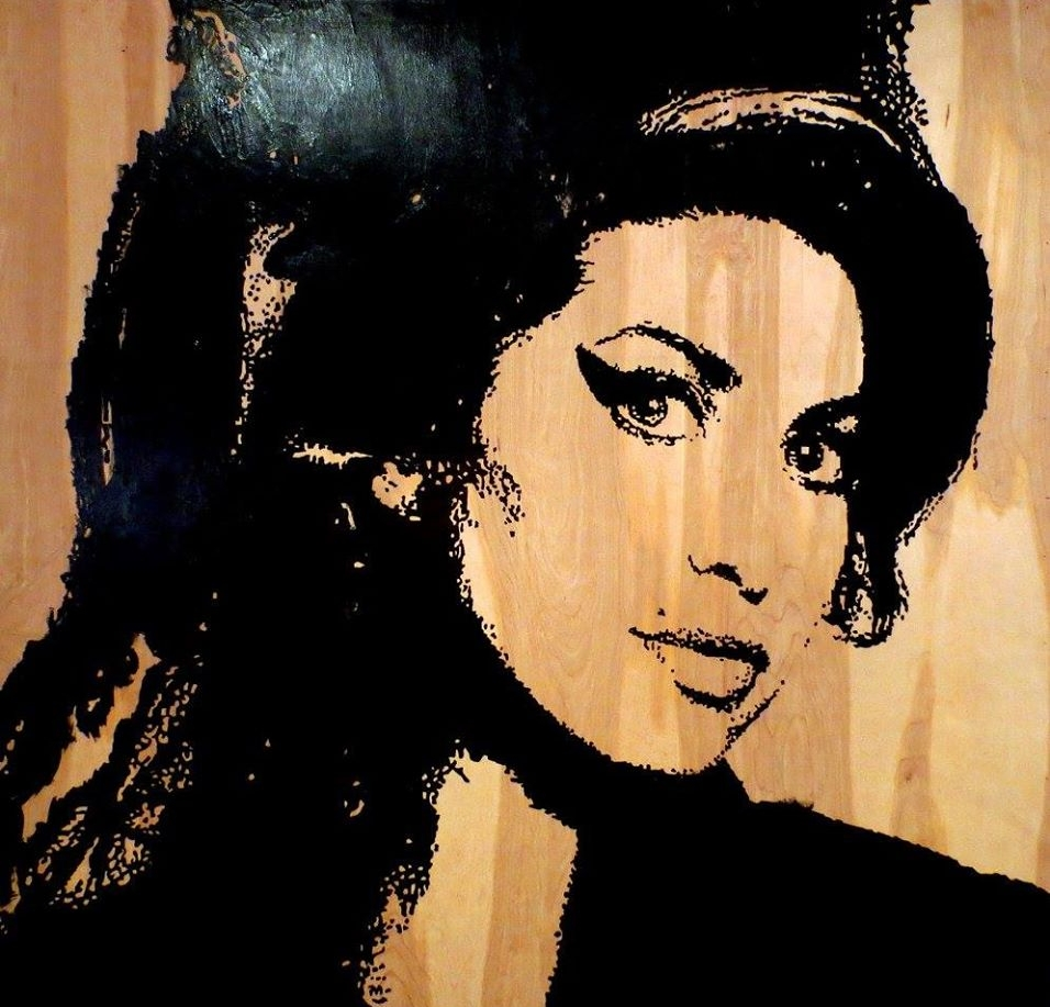 Amy 48V x 48H in. stain - enamel -acrylic on wood