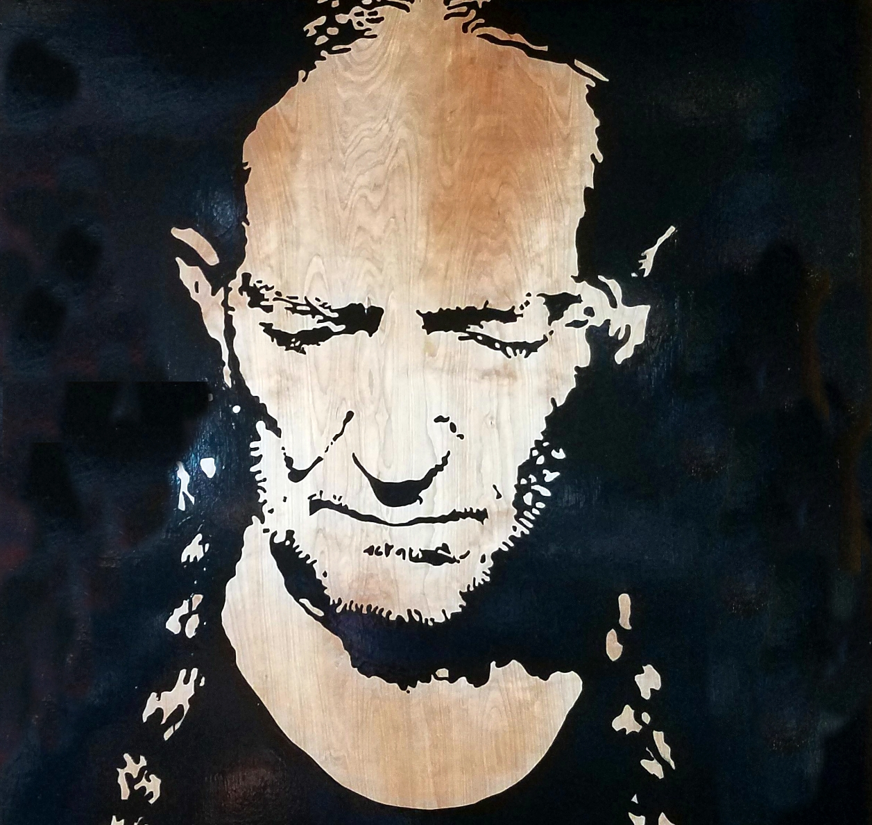 Willie 48V x 48H in. stain - enamel - acrylic on wood