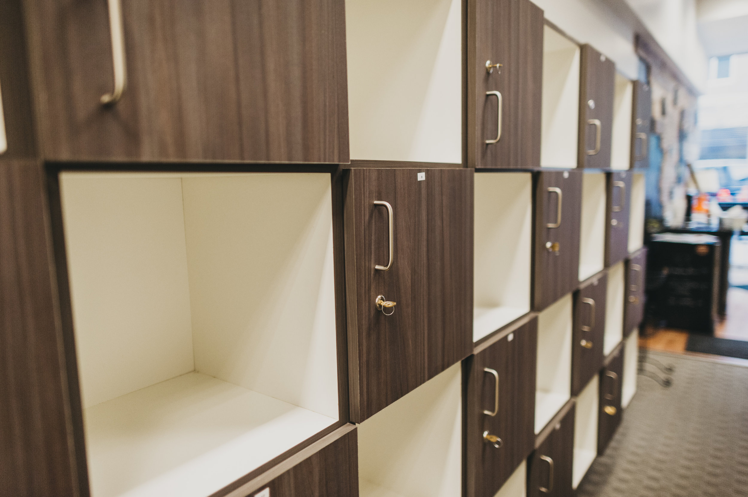 Store your belongings in a cubby or locker