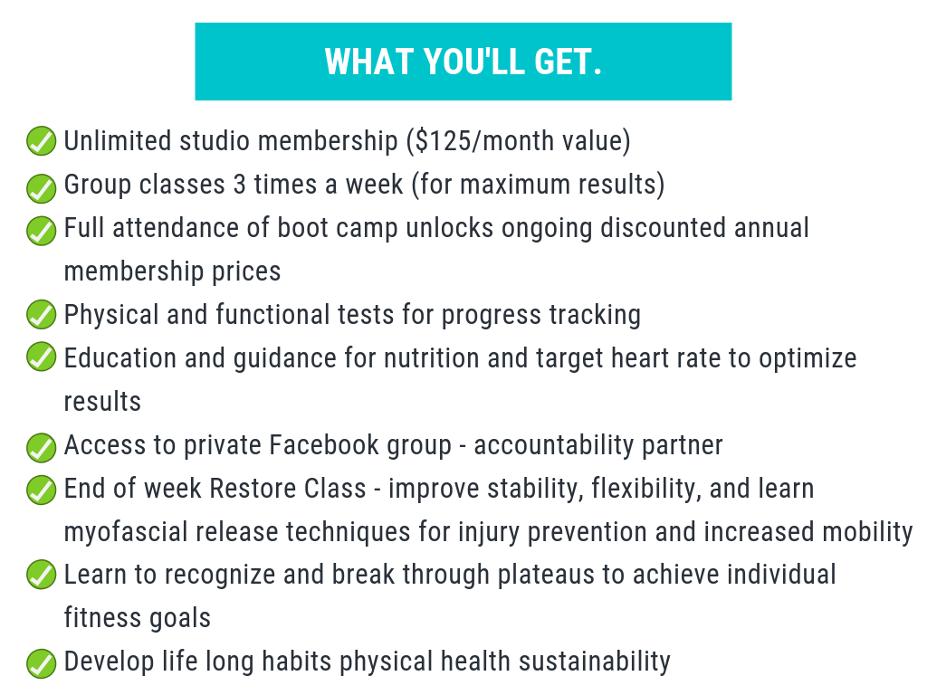 Unlimited studio membership ($125_month value) Group classes 3 times a week (for maximum results) Full attendance of boot camp unlocks ongoing discounted annual membership prices Physical and functional tests for pro (1).png