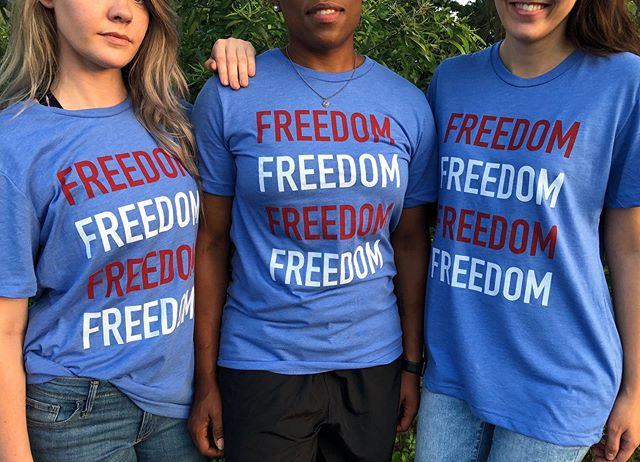 We've got 5 of our exclusive FREEDOM shirts left for sale 💙❤️💙❤️ We have 4 size smalls & 1 size medium left for $18 each. Send us a message & we can get them to you in time for the 4th of July 💥