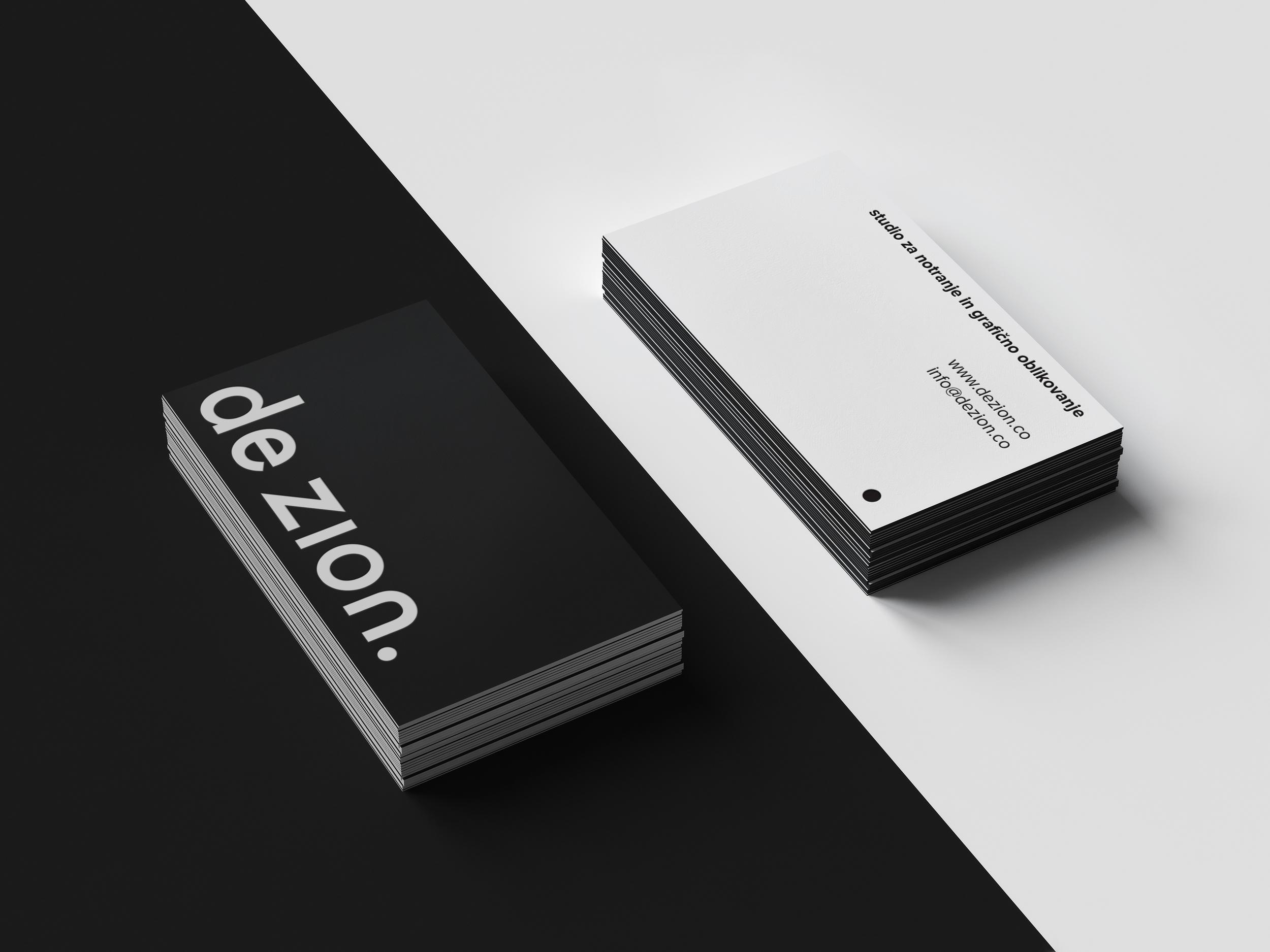 elegantne črno-bele vizitke za oblikovalski studio