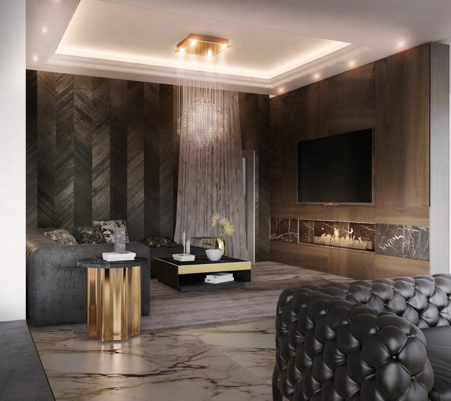 luksuzna dnevna soba v zlatih odtenkih