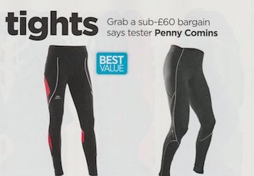 Grab a sub-60 bargain says tester Penny Comins  Publication: Trail Running  Feature title: Value tights | PDF1 ,  PDF2