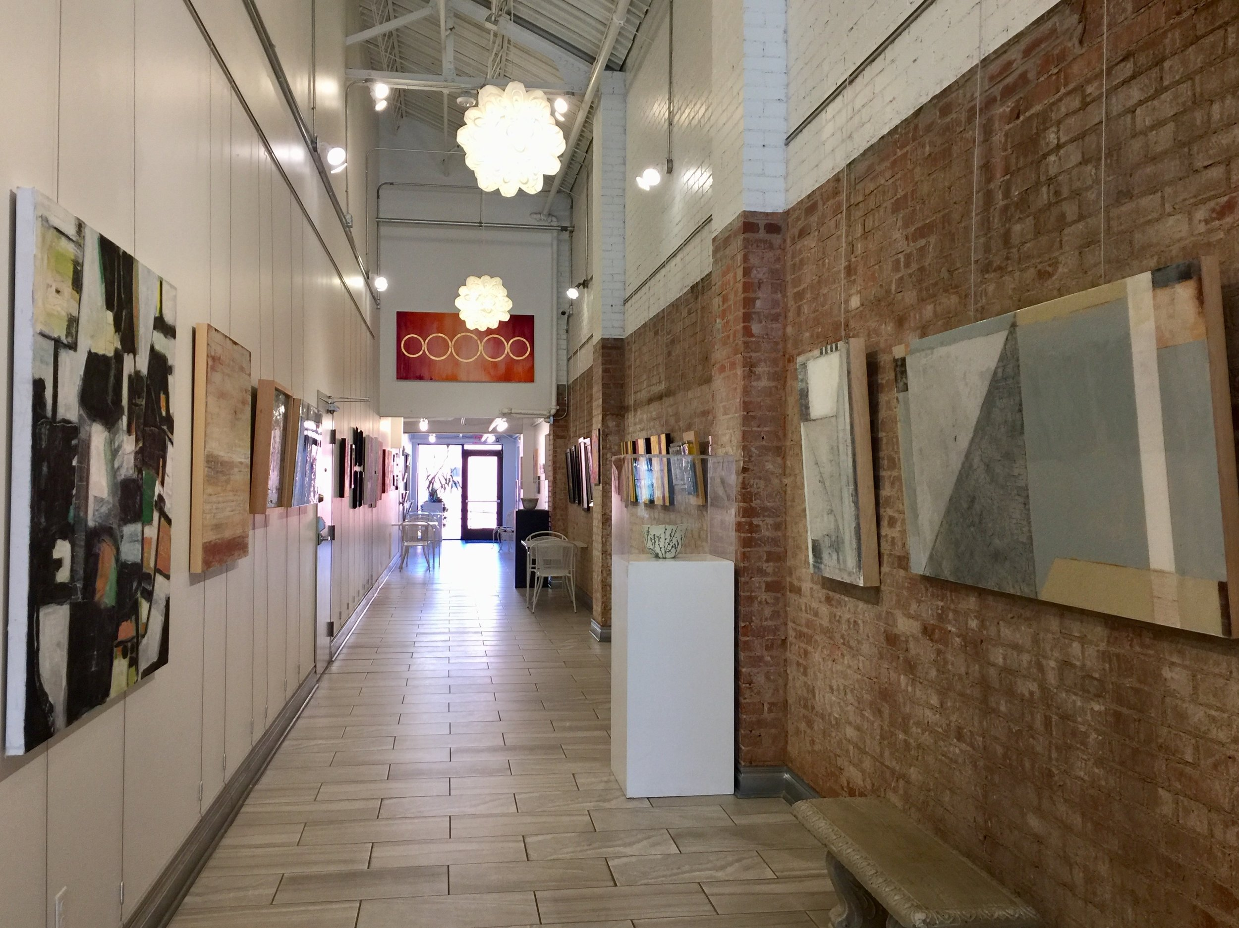 Installation view facing North, featuring Katie Henderson on the left and Christie Owen on the right