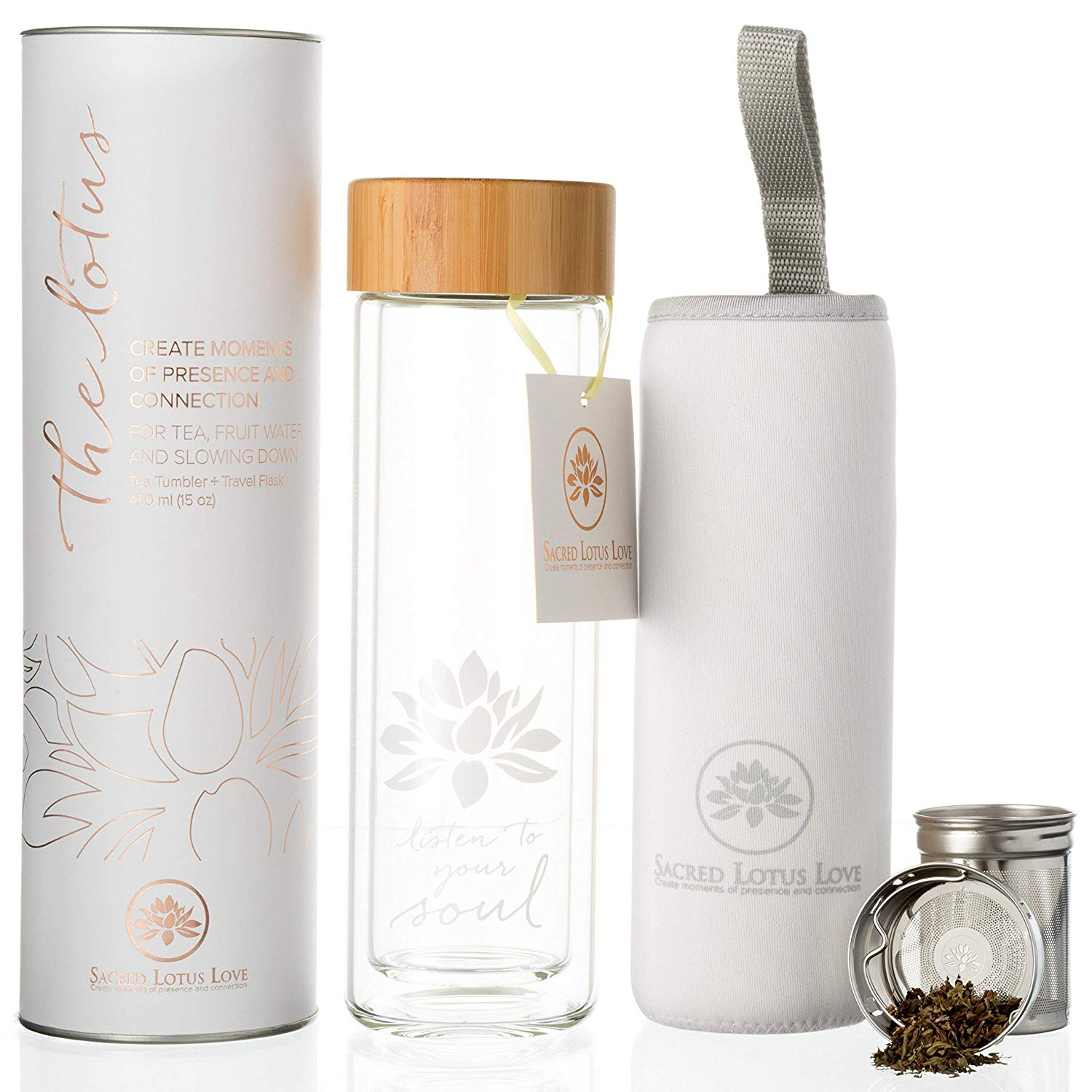 "With a modern and beautiful design, this tea infuser set can also be used for smoothies and fruit-infused water! It's 100% sustainable, with a bamboo lid, and the double-walled glass is incredibly sleek. I love the design and the ""Listen to Your Soul"" messaging!"